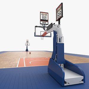 3D model Basketball Court and Baskets 06