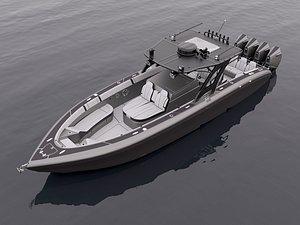 3D model Motorboat Black