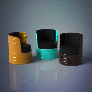 3D barrel chair model