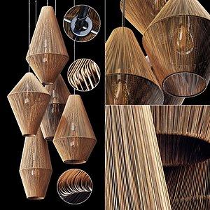 3D Lamp wood rattan wicker Cone n4 model