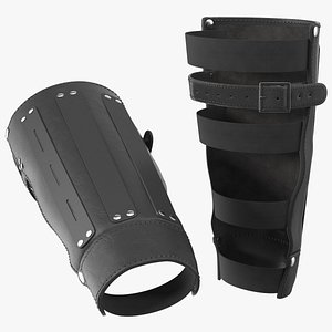 leather arm bracers 3D model