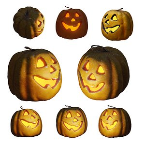 Halloween pumpkin complete SET with light and 55 ready renders Low-poly 3D model 3D