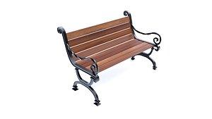 3D bench furniture seat model