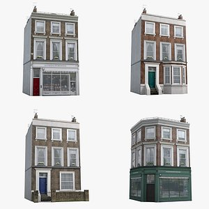 3D 4 London Townhouses Collection