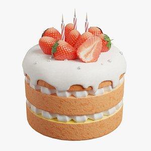 3D Strawberry Vanilla Cake