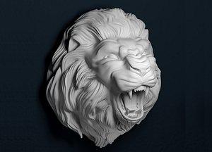 3D growling lion