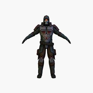 3D model cyber soldier