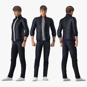 Teenage Boy Street Clothes Rigged for Maya 3D model
