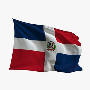 3D model Realistic Animated Flag - Microtexture Rigged - Put your own texture - Def Dominican Republic