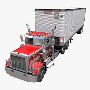Peterbilt industrial dry trailer PBR 3D model