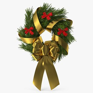 Christmas Wreath with Bows and Ribbon 4 3D model