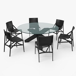 3D cassina dining table set model