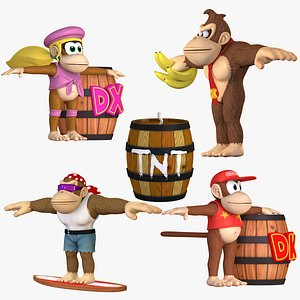 3D Donkey Kong Characters Collection