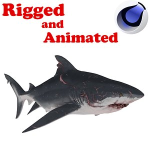 Mega shark Rigged and Animated 3D model