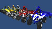 Low Poly Quad Bikes With Riders and Trailers
