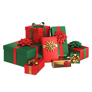 red green gift boxes 3D