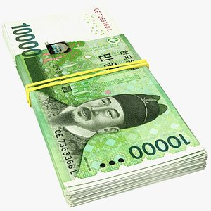 Stack of Korea Republic Won KRW 10000 Banknotes 3D model