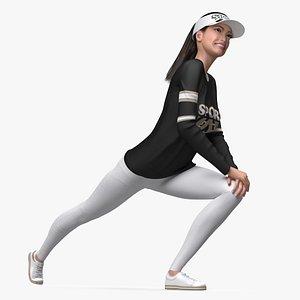 3D Sportswear Asian Woman Stretching model