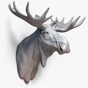Moose Head Sculpture Antlers 3D model