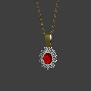 3D 3D Ruby Daimond Necklace