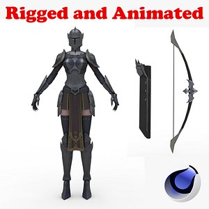 Dark Falcon Female Archer Rigged and Animated 3D model
