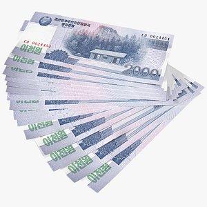 3D Fan of North Korea 2000 Won Banknotes