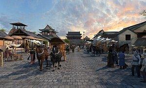 Ancient commercial street market Tang Dynasty ancient town walking street Song City restaurant inn 3D model