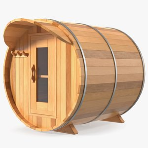 3D Wooden Barrel Outdoor Sauna model