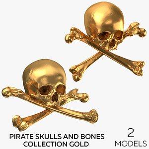 Pirate Skulls and Bones Collection - Gold - 2 models 3D model