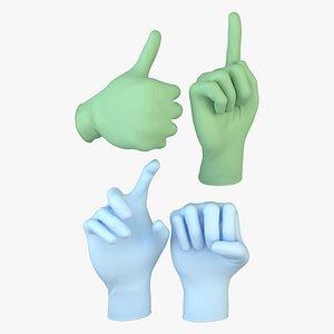 3D medical gloves set model