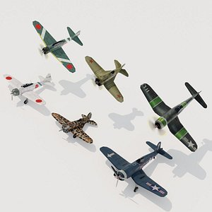 WW2 fighters lowpoly set C 3 x 2 3D model