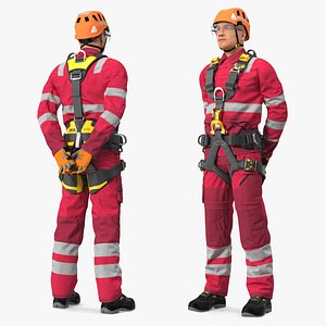 Alpinist Worker Waiting Pose 3D model