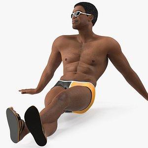 3D light skin black man
