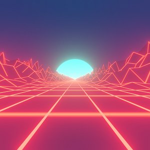 3D model Retro Neon Synthwave Road Environment Animated