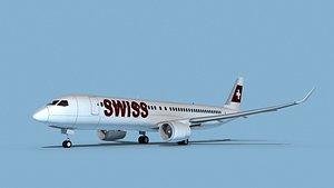 3D Airbus A220-300 Swissair model