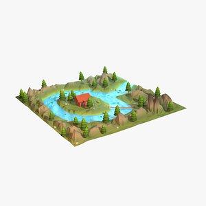 3D model Cartoon low poly wilderness scene