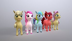 cartoon ponies 3D model