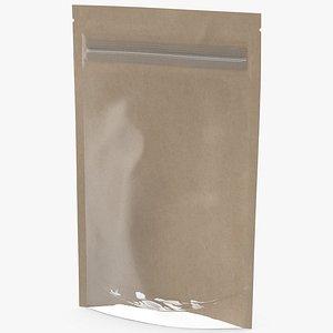 Zipper Kraft Paper Bag with Transparent Front 50 g Mockup 3D