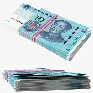 Stack of Chinese 10 Yuan 2019 Banknotes model