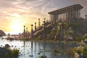 Fantasy Mountain Temple 3D model