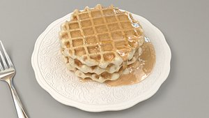 waffle with honey 3D model