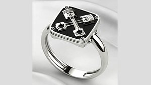 Crossed Pistons Silver Gold Ring with Enamel 3D