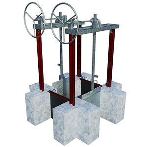 3D sluice gate