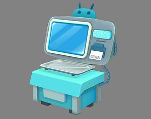Cartoon Electronic Scale - Bench Scale - platform balance 3D model