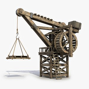 3D Medieval Wooden Crane 11 model
