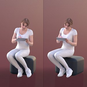 young nurse sitting 3D model