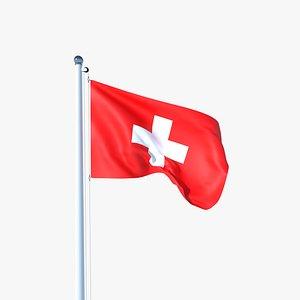 Animated Flag of Switzerland 3D