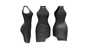 Diagonal Leather Skirt Dress 3D