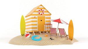 3D Beach Hut Umbrella and Chairs model