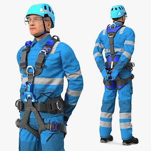 3D High Altitude Alpinist Worker Waiting Pose